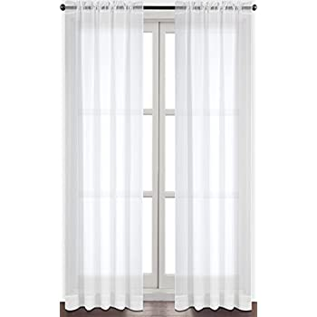 Premium White Sheer Curtains   Sheer Voile   White Luxurious   High Thread  Window Curtains   2 Panel Set   52 By 84 Inches   By Utopia Bedding