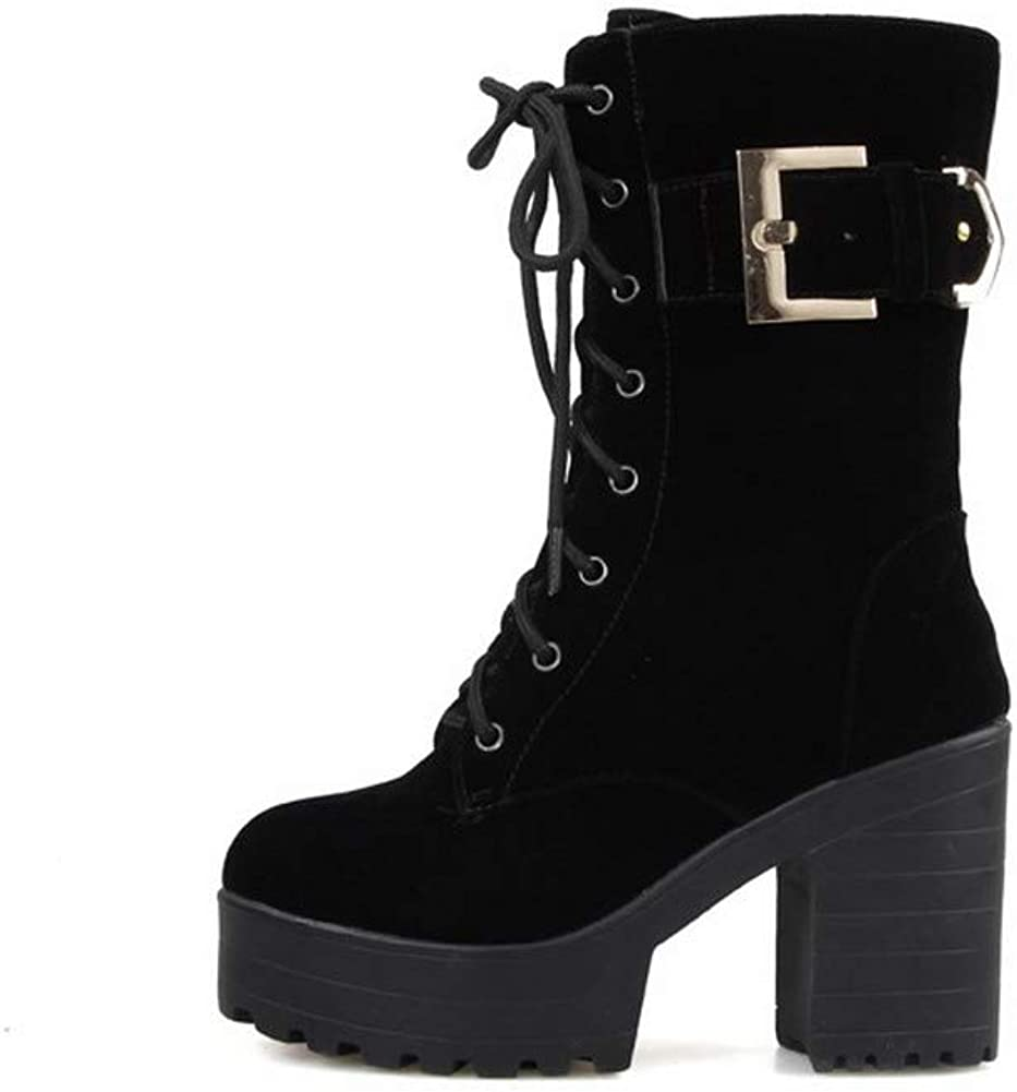 AMGXW042415 WeenFashion Womens Zipper High-Heels Imitated Suede Solid Low-Top Boots