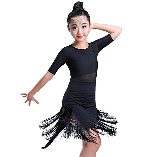 Kids Tassels Irregular Latin Dancewear Girls dance Dress Ballroom Rumba Tango (Black, 7-8) -