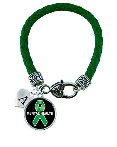 Custom Mental Health Awareness Green Leather Bracelet Gift Jewelry Family Choose (Heart Health Awareness Bracelet)