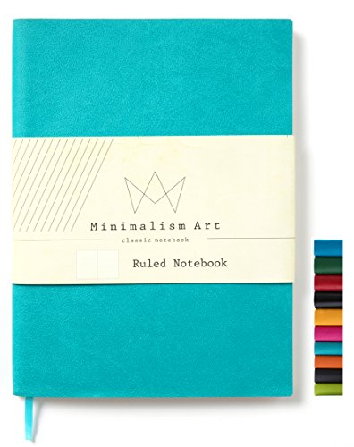 Minimalism Art, Soft Cover Notebook Journal, Composition B5 Size 7.6 X 10 inches, Ruled Lined Page, 192 Pages, Fine PU Leather, Premium Thick Paper - 100gsm, Designed in San Francisco (Blue) ()