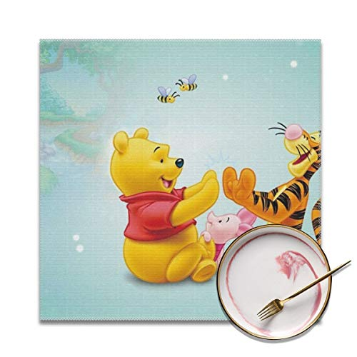 (LIUYAN Placemats Set of 4 - Tigger Piglet and Winnie The Pooh Place Mats for Kitchen Dining Table Decoration)