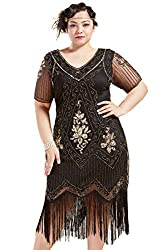 Black & Gold 1920s Sequin Art Plus Size Dress with Sleeve