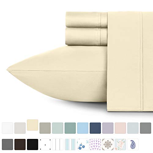 California Design Den 400 Thread Count 100% Cotton Sheet Set, Vanilla Yellow Full Size Sheets 4 Piece Set, Long-Staple Combed Pure Natural Cotton Bedsheets, Soft & Silky Sateen Weave