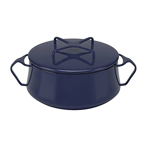 MD Group Casserole Dish Baking Stoneware 2-quart Blue Enamel Steel with Convertible Lid Kitchen Cookware
