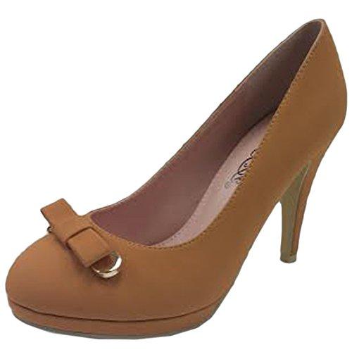 DBDK by Elegant Footwear Womens Afton-8 Round Toe Bow Pump Camel VtihX