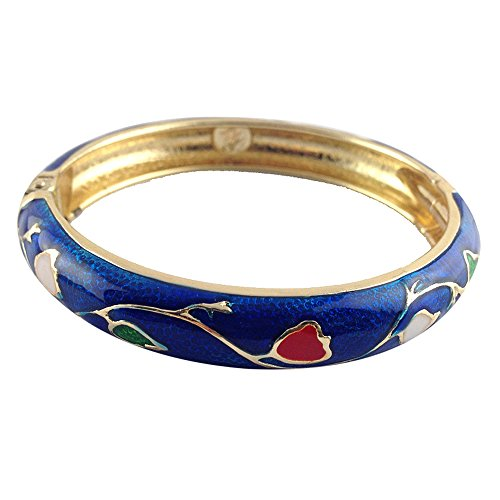 UJOY Enamel Bracelet Gorgeous Painting Wedding Birthday Gifts Cuff Bangles Jewelry Golden Plated 55A