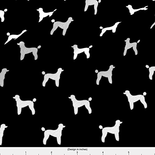 Spoonflower Poodle Fabric Poodle Silhouette Fabric Best Dogs Quilting Fabric Dog Design - Black by Petfriendly Printed on Fleece Fabric by the Yard - Poodle Black Fleece