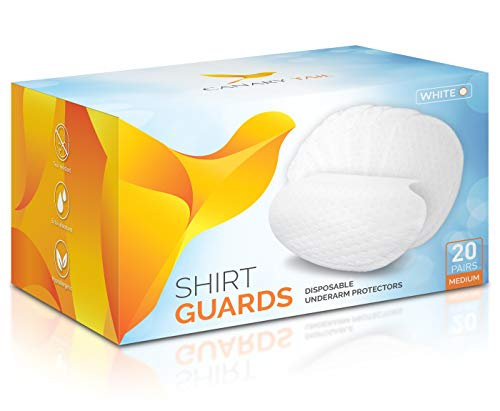 Underarm Shirt Guards (Sweat Pads) by Canary Tail - Extra Tear-Resistant - 40 Pieces (20 Pairs), Size M, White