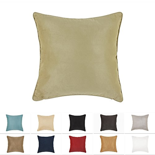 - DreamHome 26 X 26 Inches Sage Color Faux Suede Decorative Euro Pillow Cover, Throw Pillow Case with Hidden Zipper, Super Soft Faux Suede On Both Sides