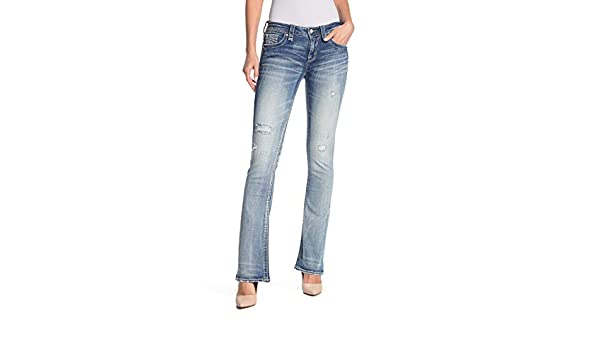 Lang Distressed Womens Mid-Rise Boot Cut Jeans Rock Revival