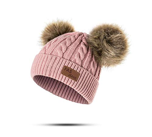 Infant Toddler Baby Knitting Woolen Hat Warm Winter Pure Color Double Pom Pom Boys Girls Beanie Cap (1-3 Years Old, A-Dark Pink)