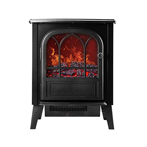 Cheap YXIUER Electric Stove Heater Fireplace with 3D Realistic Log Wood Burning Flame Effect and 2 Heat Settings - Portable Free Standing Space Heater 2000W Black Black Friday & Cyber Monday 2019