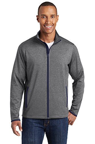 - Sport-Tek Sport-Wick Stretch Contrast Full-Zip Jacket (ST853) -Charcoal G -2XL