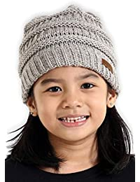 766289efc5841 Kids Cable Knit Beanie - Fits Girls, Boys, Babies, Toddlers & Children Ages  2 & Up - Thick, Soft & Warm Chunky Winter Hats - Perfect Kids Cold Weather  Hat ...