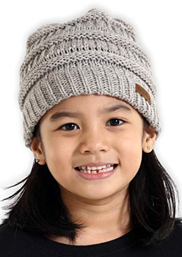 (Brook + Bay Kids Cable Knit Beanie - Fits Girls, Boys, Babies, Toddlers & Children Ages 2 & Up - Thick, Soft & Warm Chunky Winter Hats - Perfect Kids Cold Weather Hat for The Winter Season)