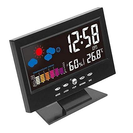 Nowakk Electrónica LCD Digital Temperatura Humedad Monitor Reloj Termómetro Higrómetro Electrónica Interior Casa Pronóstico del Tiempo