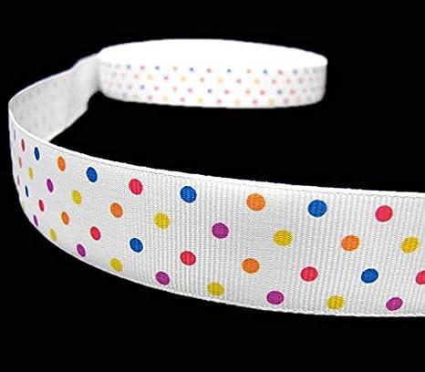 "5 Yards Colorful Confetti Swiss Polka Dot Polkadot Grosgrain Ribbon 7//8/""W"