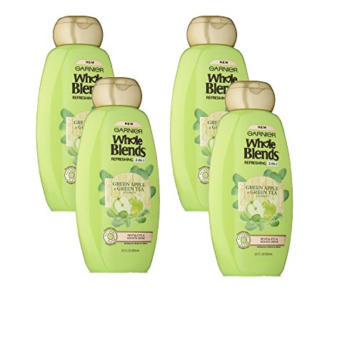 Garnier Whole Blends Refreshing 2in1 Shampoo with Green Apple & Green Tea Extracts, 4 Count by Garnier