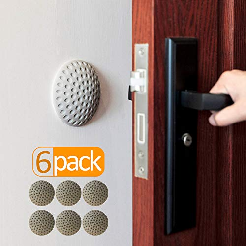 - Wall Protector for Door Handle Grey(6 Pack),Door Stopper Wall Protector,Rubber Self-Adhesive Wall Protector for Door Knobs,Furniture,Bed,Table,Desk,Chair,Glass,etc.