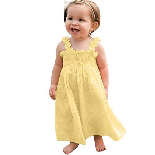 MALLOOM Toddler Kids Baby Girls Solid Ruffle Dress Sleeveless Linen Strap Casual Dresses Yellow
