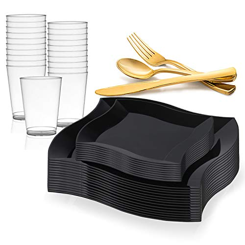 - Disposable Plastic Dinnerware Set for 120 Guests - Includes Fancy Wave Black Dinner Plates, Dessert/Salad Plates, Gold Silverware Set/Cutlery & Cups For Wedding, Birthday Party & Other Occasions
