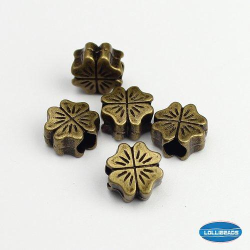 LolliBeads (TM) Jewelry Making Antique Brass Bronze Vintage Style Round Bead Spacer with Large Hole ~Shamrock~ (30 Pcs) (Shamrock Sampler)