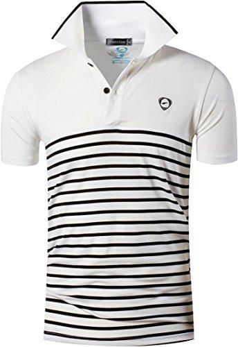 jeansian Men's Sport Quick Dry Striped Polo T-Shirt Tee LSL164 42 XL