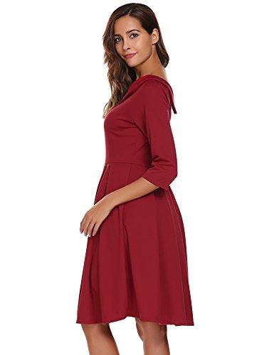 Acevog Damen Herbst Vausschnitt Vintage 50er Kleid Cocktailkleid