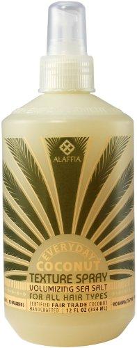 Alaffia Everyday Coconut Sea Salt Texturizing Spray, 12 oz 1 100% fair trade ingredients. Paraben free. Natural sea salt adds volume and shape to hair.