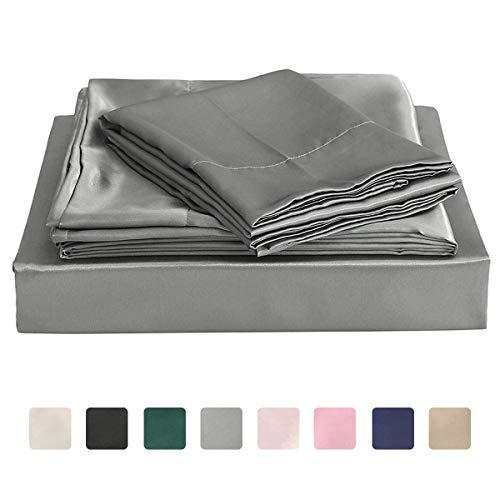 Homiest Dark Gray Queen Sheet Set Satin Bedding Sheets Set, 4pc Queen Bed Sheet Set with Deep Pockets Fitted Sheet (Silk Sheets Brown)