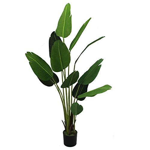 (UNIQUE FOREST ARTS Artificial Silk Bird of Paradise Palm Tree Potted Tree Artificial Travelers Tree, Artificial Silk Plant,Artificial Tree 6-Feet, 4-Feet high, Green (Size:70