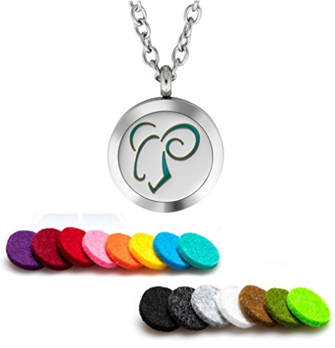 Plant Guru Essential Oil Diffuser Necklace Aromatherapy 25mm Stainless Steel Locket Pendant with 24 Inch Adjustable Chain, 15 Washable Refill Felt Pads. (Aries Zodiac)