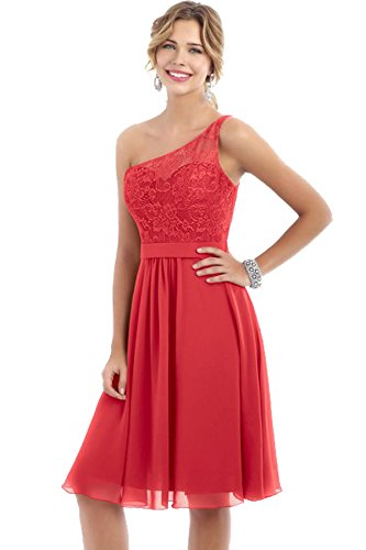 Gowns Beauty Short Bridal Persimmon One Shoulder Party Lace Evening Dresses Wedding Bridesmaid FUZFrvwWq