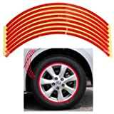 Set 8mm Red Car Wheel Rim Reflective Tape Stripe Decal Sticker