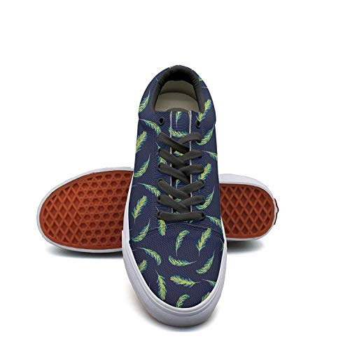 SERXO Palm Leaves Navy Blue Skateboard Shoes Women Wide Width Sneakers Sketchers (Oak Skateboard Shoe)