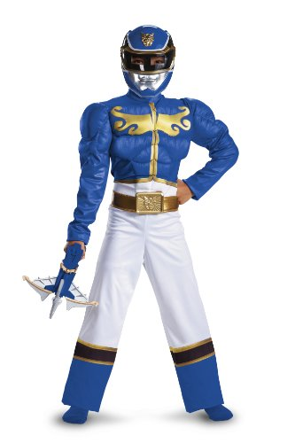 Disguise Power Ranger Megaforce Blue Ranger Boy's Muscle Costume, 10-12
