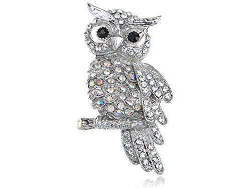 [Alilang Crystal Rhinestone Perched Owl Silvery Tone Pin Brooch] (Bird Costumes Women)
