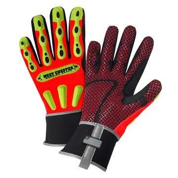 (West Chester 86712XL Safety Rigger Men's XL Gloves R2 Orange Neoprene Cuff)