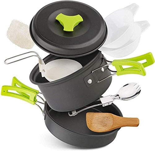 1-2 Persons Camping Tableware Outdoor Cookware Picnic Set Tr