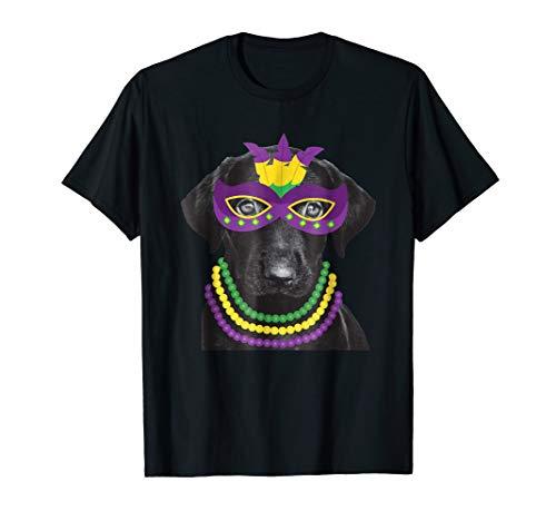 Labrador Retriever Mardi Gras T-Shirt Dog Beads Costume Tee ()
