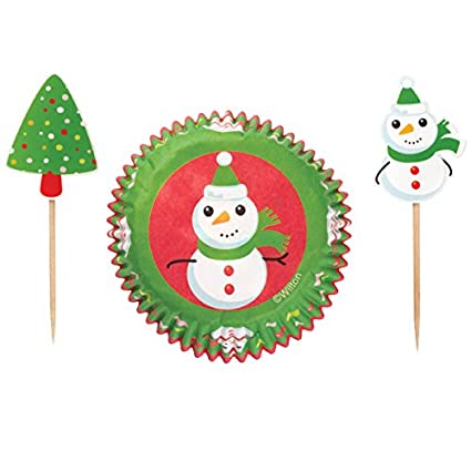 Wilton 24Pk Snowman Christmas Frosted Fun Cupcake Baking Cup Cases Picks Combo