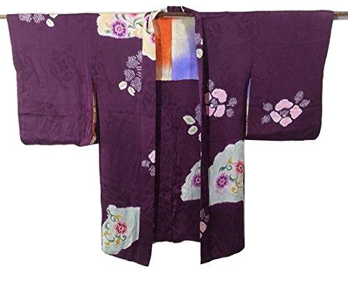 アンティーク 羽織 扇面に花模様 正絹 裄62cm 身丈95cm