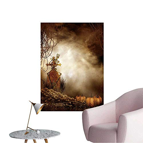 Vinyl Wall Stickers Spooky Skull Pile and Pumpkins Perfectly Decorated,32