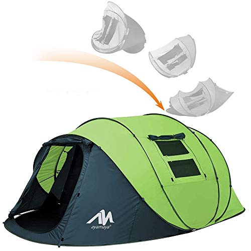ayamaya Pop Up Tents with Vestibule for 4-6 Person - Double Layer Waterproof Easy Setup Family Camping Tent Big Enough for 2-6 People - Ventilated Mesh Windows Dome Tents Outdoor Gifts for Men Women