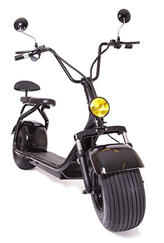 eDrift UH-ES295 2.0 32MPH Electric Fat Tire Scooter Moped with Shocks 2000w Hub Motor Harley E-Bike (Black, 20AH)