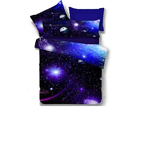 Ammybeddings 3D Universe Comforter Bedding Set for Kids Blue Starry Sky Duvet Set with Pillow Cover Super Soft Bedroom Bedding Collections for Girl and Boy(1Comforter&1Pillow Sham)