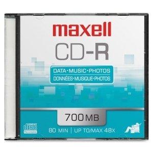 MAXELL CD Recordable Media - CD-R - 48x - 700 MB - 1 Pack Slim Jewel Case 1PK CDR 700 MEDIA / 648201 /