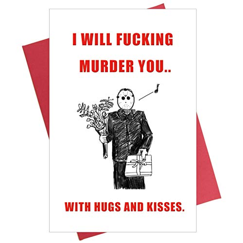 Funny Jason Anniversary Card, Scary Love Card, Horror Film Movie Gift, 80s Pop Culture Art Card