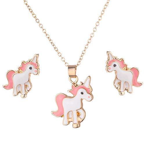 Li-ly Rose Animal Bijoux Ensemble Enfants Bijoux Dessin Anim/é Cheval Licorne Collier Boucle doreille Licorne Ensembles pour Filles Cadeaux De Haute Qualit/é